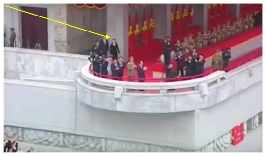Kim Jong Un waves to the crowd following a May 10, 2016 event celebrating the 7th Party Congress, attended to (annotated) by close aide and younger sister Kim Yo Jong (Photo: Korean Central TV).