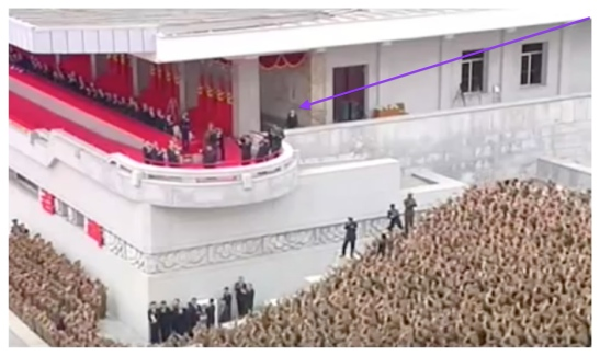 Kim Jong Un waves to the crowd following a May 10, 2016 event celebrating the 7th Party Congress, shadowed (annotated) by close aide and younger sister Kim Yo Jong (Photo: Korean Central TV).