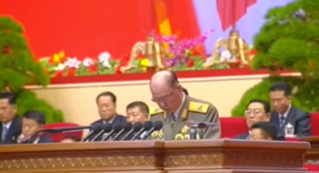 Chief of the KPA General Staff Vice Marshal Ri Myong Su speaks during the second day of the 7th Party Congress on May 8, 2016 (Photo: Korean Central TV).