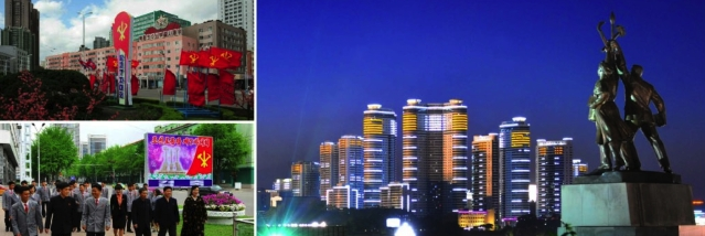 Images of Workers' Party of Korea-themed art and decorations around Pyongyang (Photo: Rodong Sinmun).