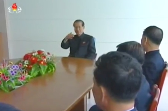 WPK Secretary for Science and Education Choe T'ae Bok speaks with researchers at the State Academy of Sciences in P'yo'ngso'ng, South P'yo'ngan Province on May 1, 2016 (Photo: Korean Central TV).