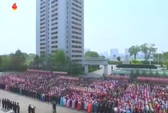 View of participants at an International Labor Day (May Day) nation meeting held at Kim Cho'ng-suk Silk Mill in Pyongyang on May 1, 2016 (Photo: Korean Central TV).