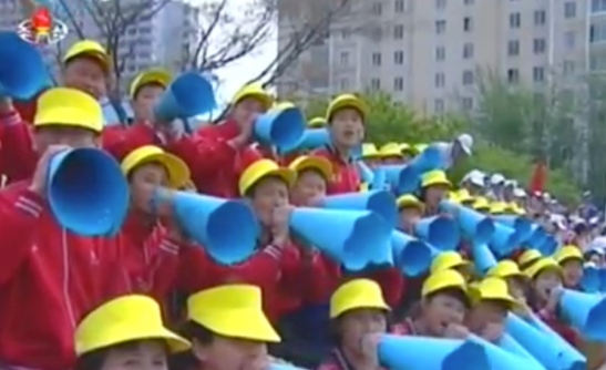 Cheerleading section for athletic games held at Pyongyang 326 Electric Wire Factory on May 1, 2016 (Photo: Korean Central TV).