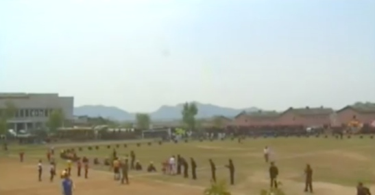 View of a footrace held at the development of the Sep'o Stockbreeding Zone in eastern DPRK as party of International Labor Day events at work sites and production units (Photo: Korean Central TV).