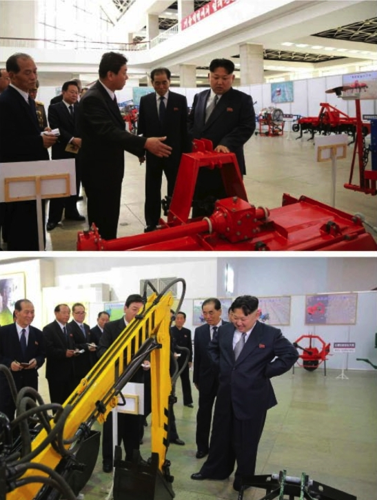 Kim Jong Un tours a specially organized exhibition on machines and equipment (Photos: Rodong Sinmun-KCNA).