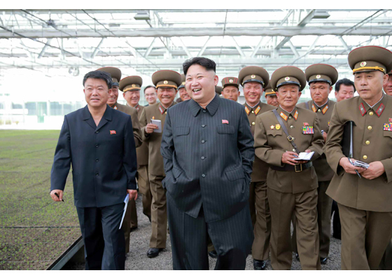 Kim Jong Un tours KPA Tree Nursery #122. Also in attendance (left) is Minister of Land and Environmental Protection Kim Kyong Jun (Photo: Rodong Sinmun)