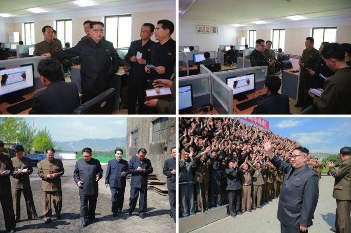 Kim Jong Un visits a science and technology research area at the machine plant managed by Ho Chol Yong (Photos: Rodong Sinmun-KCNA)