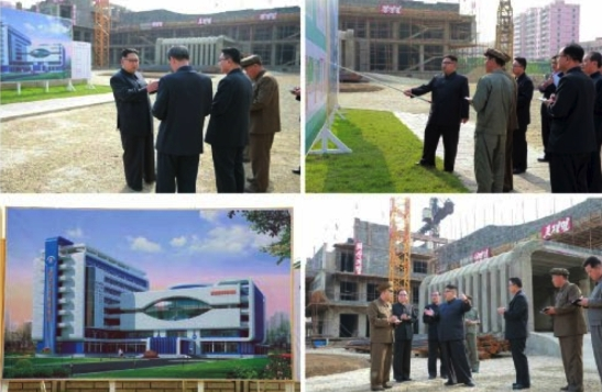 Kim Jong Un tours and gives instructions for the construction of the Ryugyong Ophthalmic Hospital (Photos: Rodong Sinmun/KCNA).