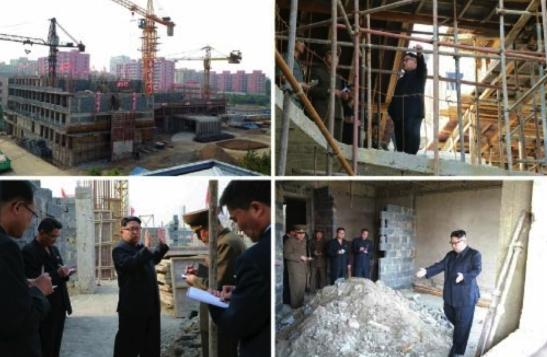 Kim Jong Un tours the construction of an eye hospital in Pyongyang (Photos: Rodong Sinmun-KCNA).