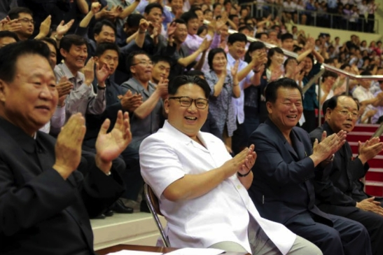 Kim Jong Un watches a men's basketball game between the Sobaeksu and Chinese Olympic Teams (Photo: Rodong Sinmun).