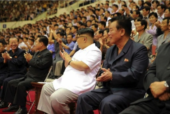 Kim Jong Un and senior WPK officials watch a men's basketball game between the Sobaeksu and Chinese Olympic Team (Photo: Rodong Sinmun).