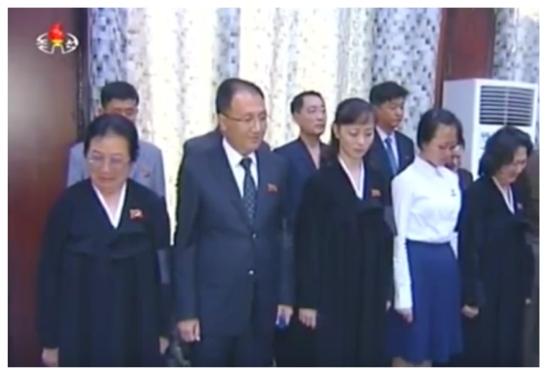 Kang's widow, son and grandchildren at his funeral service at Sojang Center in Pyongyang on May 22, 2016 (Photo: Korean Central Television).