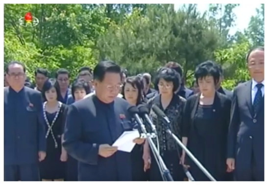 WPK Vice Chairman and WPK Political Bureau Presidium Member Choe Ryong Hae delivers the eulogy at a graveside service for Kang Sok Ju at Patriotic Martyrs' Cemetery in Pyongyang on May 22, 2016. Also in attendance, and who also spoke at Kang's funeral, is WPK Vice Chairman and WPK Political Bureau Member Ri Su Yong (Photo: Korean Central TV).