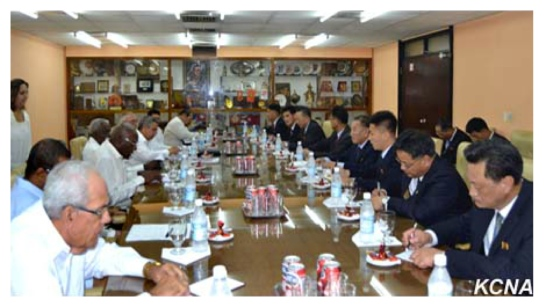 The WPK delegation meets with CPC representatives at the CPC Central Committee office building in Havana on May 23, 2016 (Photo: KCNA).