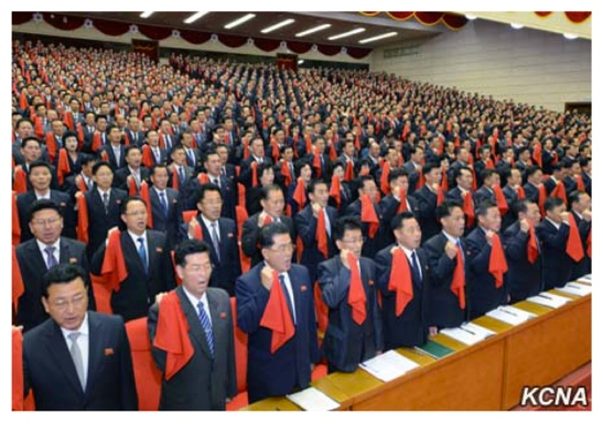 7th Party Congress participants pledge their loyalty to the resolutions and instructions of the 7th Party Congress on May 11, 2016 (Photo: KCNA).