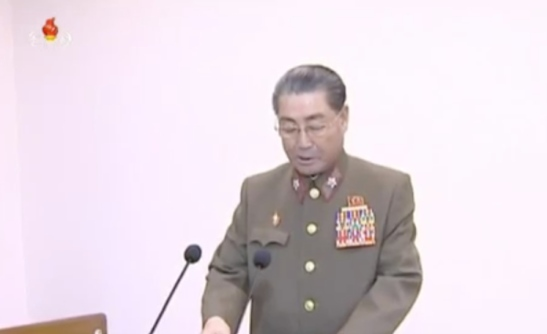 Kim Il Sung Military University Post-graduate School Rector and former Minister of the People's Armed Forces Vice Marshal Kim Jong Gak addresses one of the joint conference's sidelines inter-sector meetings (Photo: Korean Central Television).