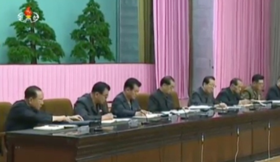 View of the platform at a joint national conference on implementing the 5 year economic plan announced at the 7th Party Congress, held in Pyongyang during May 26 through May 28 (Photo: Korean Central TV).