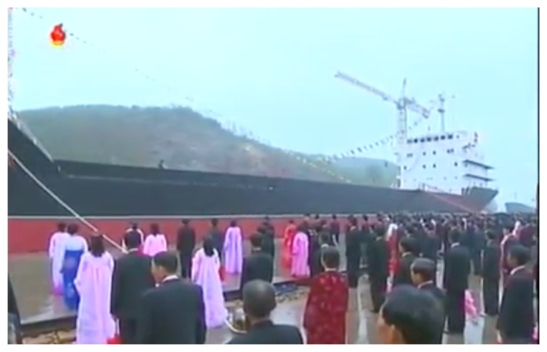 May 15, 2016 ceremony at Ryongnam Dockyard in Namp'o launching a new cargo ship Jaryok (Photo: Korean Central TV).