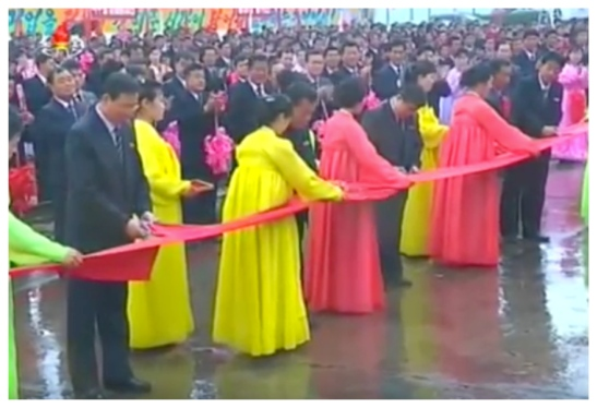 A ceremonial red rap launch the Jaryok is cut (Photo: Korean Central TV).
