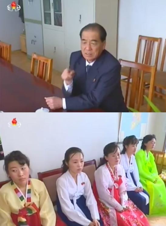 DPRK Premier Pak Pong Ju talks with employees at Kim Cho'ng-sik Silk Mill in Pyongyang on May 1, 2016 (Photos: Korean Central TV).