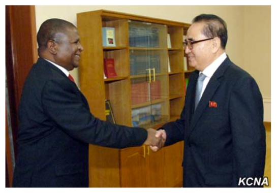 WPK Vice Chairman Ri Su Yong shakes hands with Mozambican