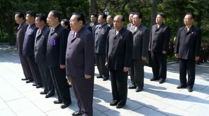 DPRK Foreign Minister and WPK Political Bureau Alternate [candidate] Member Ri Yong Ho lines up with other membersof the central leadership during a floral wreath laying ceremony on May 31, 2016 (Photo: DPRK Media).