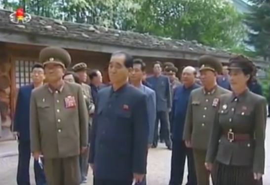 (Left to right) DPRK Vice Premier Kim Tok Hun, Minister of the People's Armed Forces and WPK Political Bureau Member General Pak Yong Sik, DPRK Prime Minister and WPK Political Bureau Presidium Member Pak Pong Ju and a docent tour the Mt. Paektu secret headquarters (KJI's official birthplace) on June 4, 2016 (Photo: Korean Central TV).