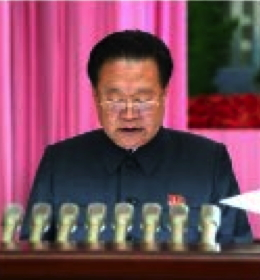 Choe Ryong Hae, WPK Vice Chairman and Member of the WPK Political Bureau Presidium, delivers the report (Photo: Rodong Sinmun).