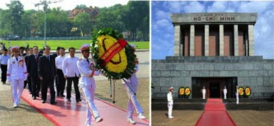 Choe Tae Bok and a WPK delegation participate in a wreath laying ceremony at the mausoleum of Ho Chi Minh on June 5, 2016 (Photo: Rodong Sinmun).