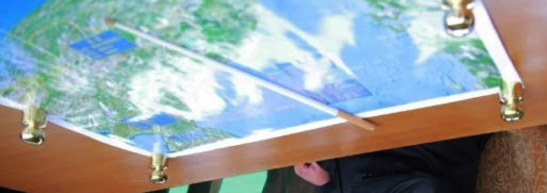 Rotated unretouched and unedited image of the map on Kim Jong Un's desk in the observation post (Photo: Rodong Sinmun).