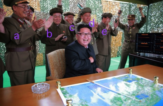 Attending the test with Kim Jong Un were: General Kim Rak Gyom [a], Yu Jin [b], Kim Jong Sik [c], Ri Pyong Chol [d], Ri Man Gon [e] (Photo: Rodong Sinmun/KCNA).