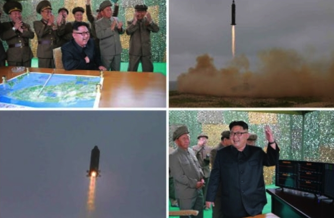 Photos from the top left of page 2 of the WPK daily newspaper Rodong Sinmun show the Hwaso'ng-10 (Musudan) IRBM and Kim Jong and senior WPK and KPA personnel celebrating the second successful test firing (Photos: Rodong Sinmun/KCNA).
