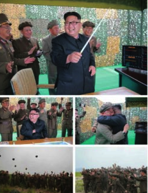 Photos from the bottom left of page 2 of the WPK daily newspaper Rodong Sinmun show Kim Jong Un, senior DPRK officials and test personnel celebrating the successful of the Hwaso'ng-10 (Musudan) IRBM test (Photos: Rodong Sinmun/KCNA).
