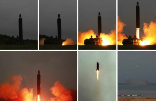 Photos from the bottom of page 2 of the June 23, 2016 edition of the WPK daily newspaper depict the Hwaso'ng-10 IRBM test (Photos: Rodong Sinmun/KCNA).