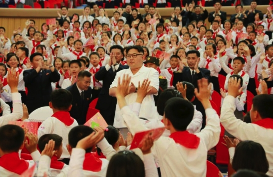 "Kim Jong Un attends a performance of ""We Are the Happiest in the World"" on June 7, 2016 at Mangyo'ngdae Schoolchildren's Palace in Pyongyang (Photo: Rodong Sinmun)."