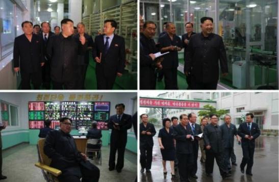 Kim Jong Un tours packing, control and quality inspection areas of the Pyongyang Cornstarch Factory (Photos: Rodong Sinmun/KCNA).