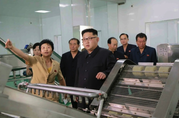 Kim Jong Un looks over production at the Ryugyo'ng Pickle Factory in suburban Pyongyang (Photo: Rodong Sinmun).