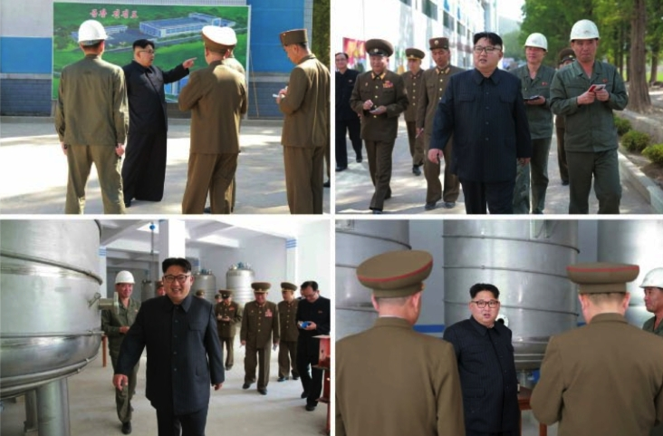 Kim Jong Un tours and discusses the construction of Ryo'ngaksan Soap Factory (Photos: Rodong Sinmun-KCNA).