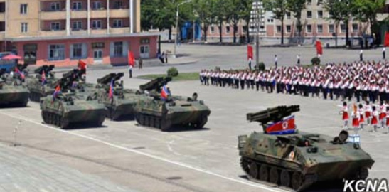 Sonyon-model MLRS process through central Hamhu'ng during a presentation ceremony on June 1, 2016 (Photo: KCNA).