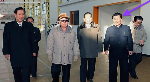 O Su Yong (tagged) on a December 2010 tour in North Hamgyo'ng with Kim Jong Il