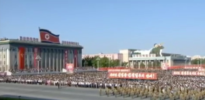 View of participants in Kim Il Sung Square for a June 1, 2016 mass rally in support of the 200-day speed battle campaign (Photo: Korean Central TV).