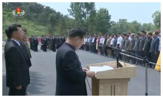 WPK Vice Chairman and State Physical Culture and Sports Guidance Commission Chairman Choe Ryong Hae reads a message from the WPK Central Committee at an event opening a sports factory in Pyongyang on June 7, 2016 (Photo: Korean Central TV).