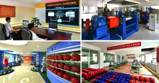 Parts of the Pyongyang Sports Apparatus Factory (Photos: Rodong Sinmun/KCNA).