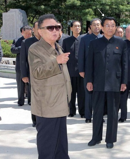 Ri Man Gon (tagged, right) with Kim Jong Il in 2011 (Photo: NK Leadership Watch file photo).