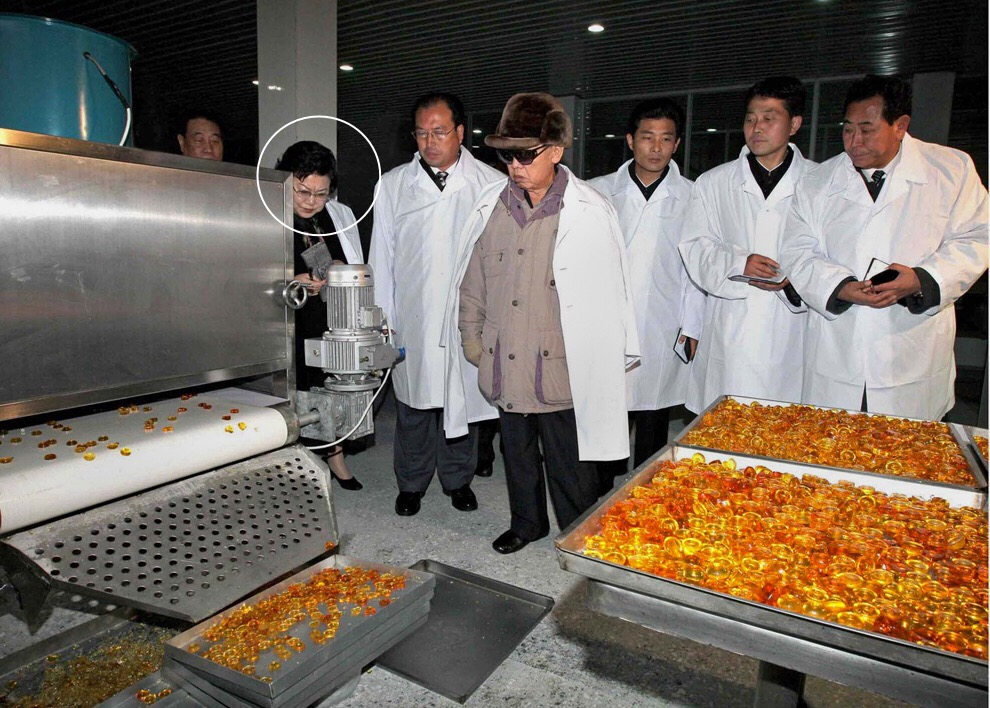 Pak Myong Sun (tagged) attends Kim Jong Il's 2009 visit to the Pyongyang Cornstarch Factory (Photo: KCNA)