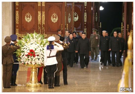 Kim Jong Un and the WPK Vice Chairman enter the statue hall at Ku'msusan (Photo: KCNA).