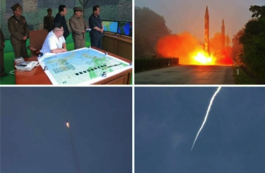 A photo of Kim Jong Un and senior personnel watching the missile drill and photos of the missile drill that appeared in the bottom left of the front page of the July 20, 2016 edition of the WPK daily newspaper Rodong Sinmun (Photos: Rodong Sinmun/KCNA).