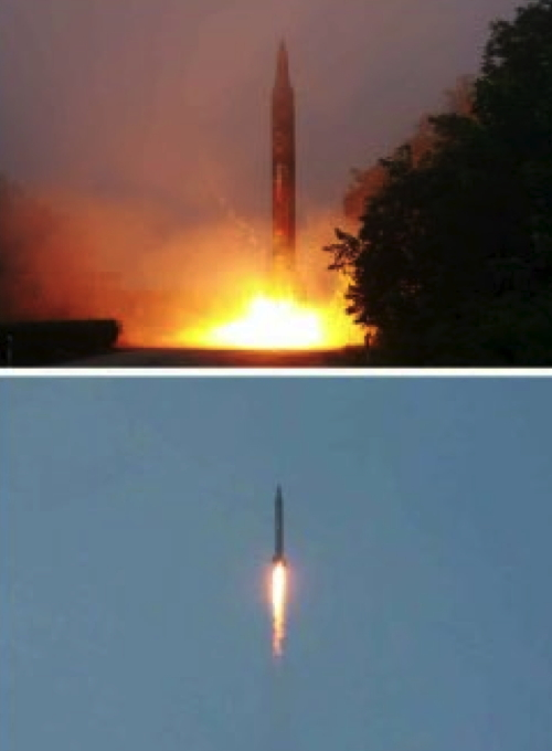 Photos of a ballistic missile drill which appeared in bottom center of the July 20, 2016 edition of the WPK daily newspaper Rodong Sinmun (Photos: Rodong Sinmun/KCNA).