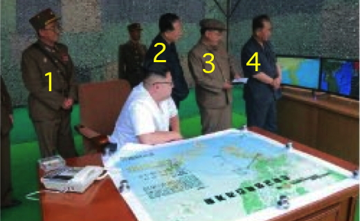 Kim Jong Un and senior WPK and KPA officials watch a ballistic missile drill.  In this photo are KPA Strategic Force Commander General Kim Rak Gyom (1), WPK Munitions Industry Department Deputy Director Hong Sung Mu, WPK Munitions Industry Department Deputy Director Kim Jong Sik (3) and WPK Central Committee Senior Deputy Director Ri Pyong Chol (4) (Photo: Rodong Sinmun).