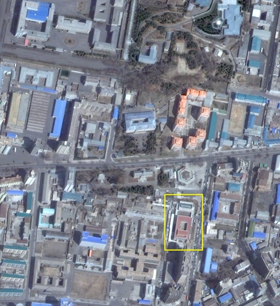 Paektusan Architectural Institute (tagged) in central Pyongyang (Photo: NK Leadership Watch/Digital Globe).